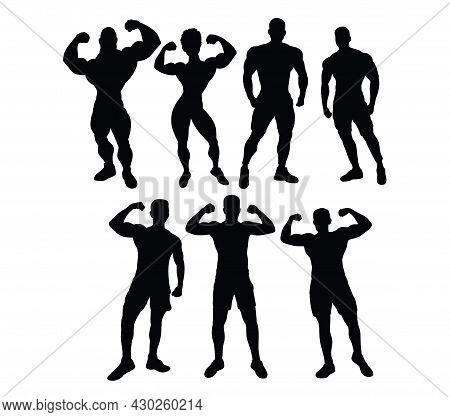 Body Building  Sport Activity, Art Vector Silhouettes Design