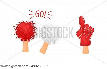 Soccer Football Fan Attributes Set. Hands Holding Red And White Fan Objects Cartoon Vector Illustrat