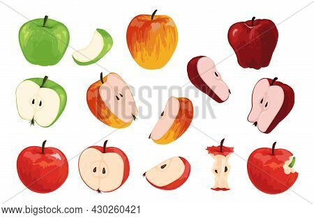 Apple. Cartoon Half Full And Quarter Of Fruit With Worm. Orchard Vegetarian Food Collection. Ripe Ju