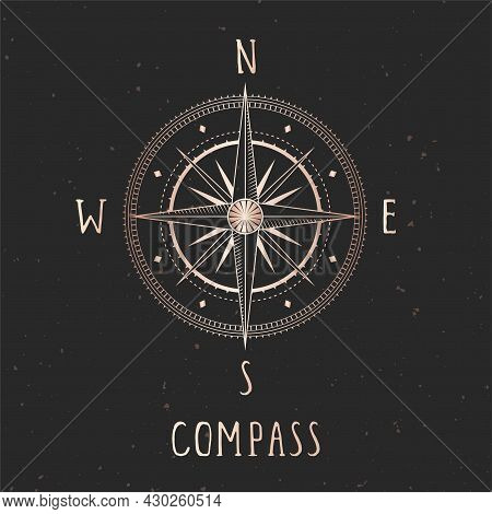 Vector Illustration With Gold Compass Or Wind Rose And Frame On Dark Background. With Basic Directio