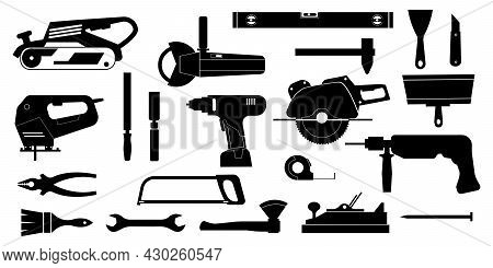 Black Construction Tools. Home Repair And Building Instruments For Workers And Engineers. Silhouette