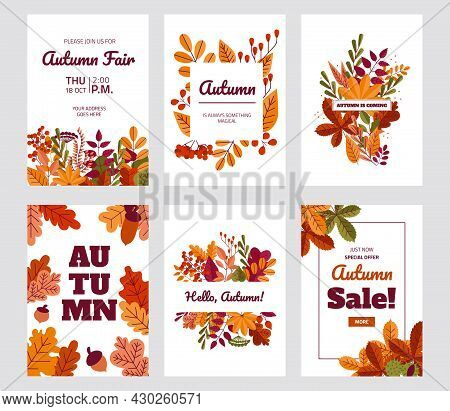 Autumn Foliage Posters. Fall Discount And Special Offer Banners With Red Or Yellow Leaves. Maple Or