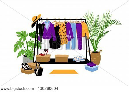 Clothes Hanger. Cartoon Store Wardrobe. Dress Or Jeans. Pants And Jacket. Charity Clothing Hanging I