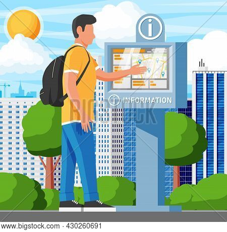 Information Kiosk And Man And Cityscape. Sign Digital Information Panel. Street Interactive Touchscr