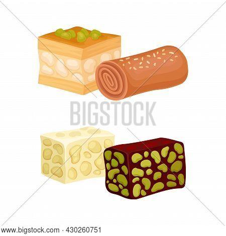 Oriental Sweets Set. Baklava And Mafruka, East Cuisine Desserts Cartoon Vector Illustration