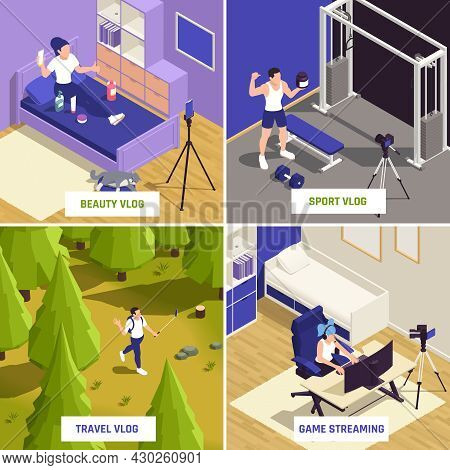 Blogging Concept 4 Isometric Compositions With Sport Fitness Vlogger Travel Beauty Vlog Recording Ga