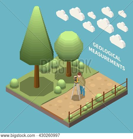 Geology Earth Exploration Isometric Composition Geologist At Work Measuring Something With Special I