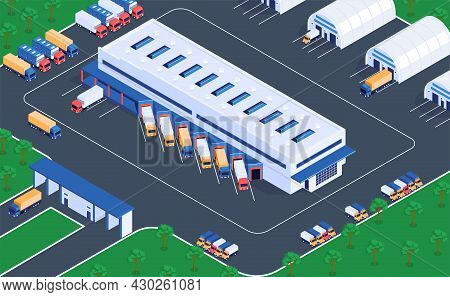Logistic Service Warehouse Storage Facilities Isometric View Of Distribution Center Terminal Loading