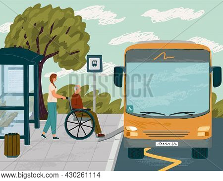 Woman Helps Disabled Senior Man In Wheelchair To Board Bus Concept Vector Illustration. Bus Ramp For