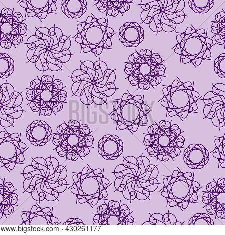 Seamless Pattern Of Ornate Mandalas Of Violet Color On A Light Purple Background, Ornate Curls For D
