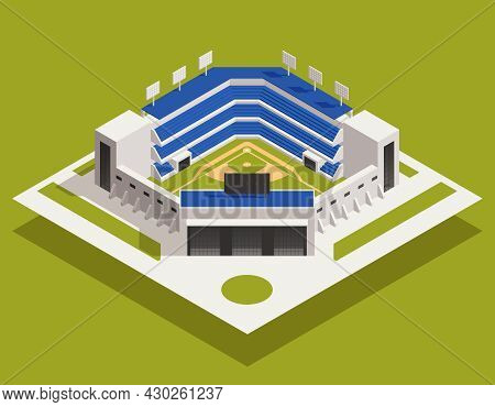 Baseball Isometric Composition With Isolated View Of Stadium Building With Stands And Seats With Bal