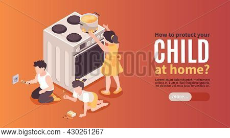 Isometric Children Safety Horizontal Banner With Editable Text Button And Risky Kids Playing With Ho