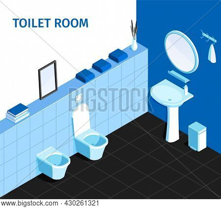 Bathroom Interior Corner Isometric View With Wash Basin Sink Mirror Flush Toilet Urinal Trash Can Ve