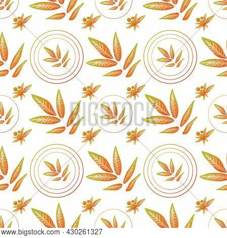 Autumn Leaves Pattern Seamless. Abstract Fall Twigs With Leaves In Geometric Circles Endless Ornate