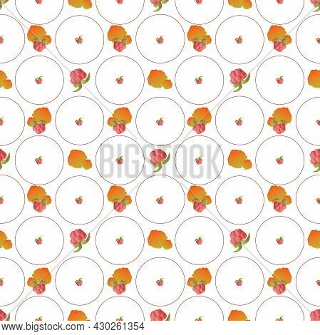 Autumn Leaves Pattern Seamless. Abstract Raspberry Berries And Orange Leaves In Circle Tiles Endless