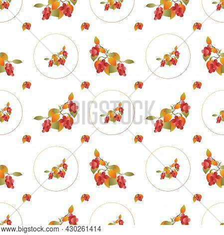 Autumn Leaves Pattern Seamless. Abstract Fall Red Berries And Leaves In Circle Shapes At Endless Orn