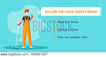 Man Janitor In Face Mask Pointing Finger Up. Prevention Of Coronavirus. Banner Template With Text.