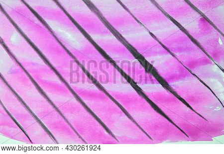 Abstract Watercolor Pink Background With Black Diagonal Lines
