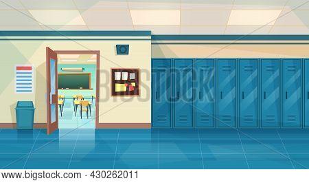Empty School Corridor Interior With Row Of Lockers, And Open Door In Classroom. Horizontal Banner. C