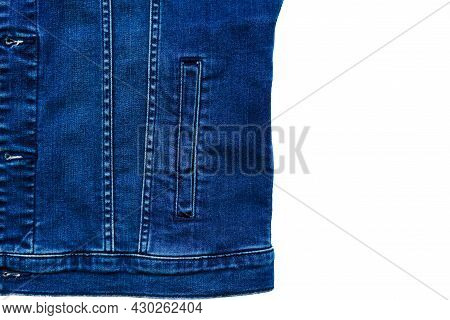 Denim Jacket With A Side Pocket. Close Up View Of Blue Denim Jacket With Pocket And Classic Stitchin