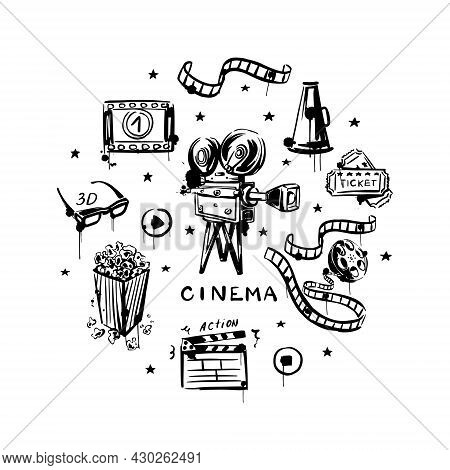 Movie Hand-drawn Set On A White Isolated Background. Black And White Vintage Video Camera, Reel With