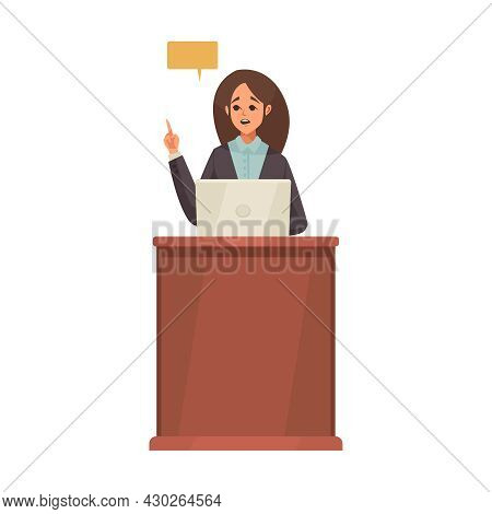 Law Justice Composition With Female Doodle Character At Tribune With Laptop And Thought Bubble Vecto