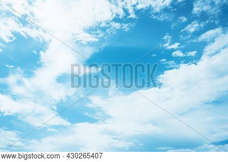 Blue Sky And White Clouds Abstract Background.