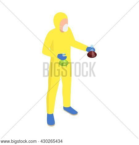 Microbiology Biotechnology Isometric Composition With Human Character In Chemical Suit Holding Two L