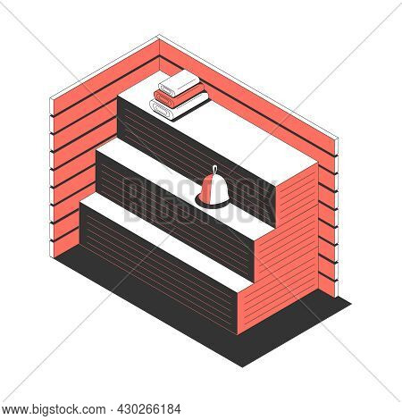 Sauna Bath Spa Isometric Composition With View Of Sauna Sweating Room With Benches Towels And Hat Ve