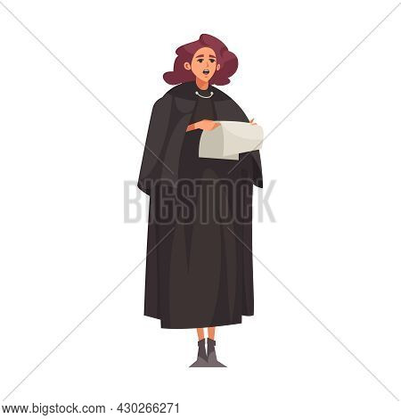 Law Justice Composition With Female Judge Character Reading Out From Paper Sentence Vector Illustrat