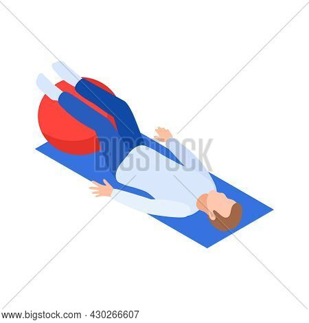 Physiotherapy Rehabilitation Isometric Composition With Male Character Lying On Mat With Legs On Rub