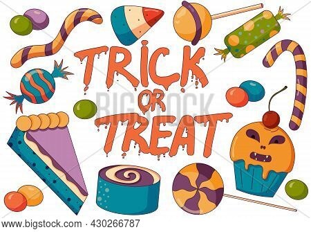 Concept Illustration Of Trick Or Treat Candy Mix, Halloween Party With Spooky Bonbons, Pies And Cupc