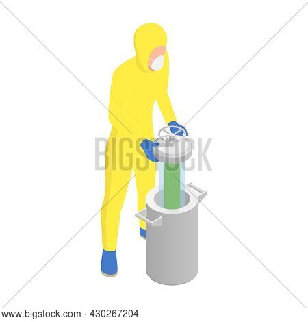 Microbiology Biotechnology Isometric Composition With Man In Chemical Suit Putting Dangerous Capsule