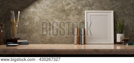 Close Up, Poster Frame Mockup For Your Art Piece On Brown Marble Table, Loft Wall, Under Light