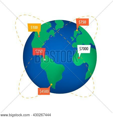 Crowdfunding Composition With Flat Icon Of Earth Globe With Trajectory Lines And Money Amounts Vecto