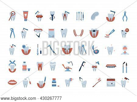 Vector Set With Flat Color Dentistry Icons