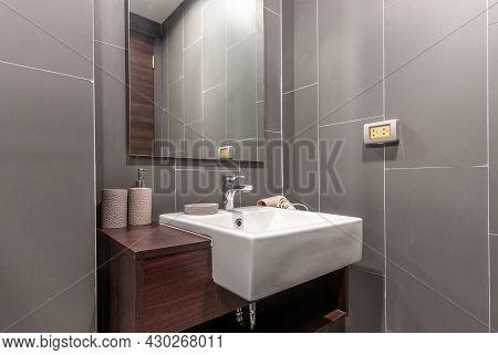 Modern Wash Basin In New Bathroom Interior In Spacious Apartment
