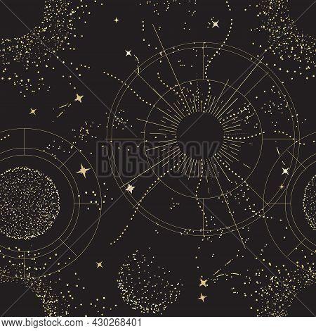 Galaxy Universe Mystic Background, Night Sky Design. Sacred Geometry Signs    Constellation, Sun,  M