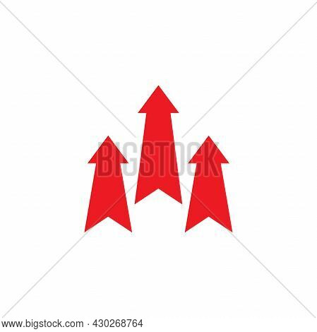 Three Red Arrows Up Icon. Isolated On White. Upload Icon. Upgrade Sign. Growth Symbol. Creative Proj