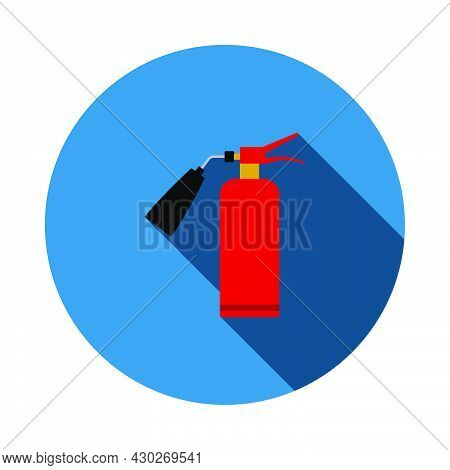 Fire Extinguisher Icon. Flat Circle Stencil Design With Long Shadow. Vector Illustration.