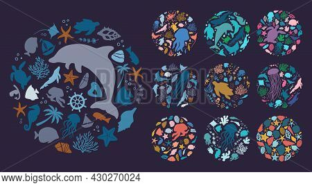 Round Maritime Concept Collection. Flat Vector Illustration
