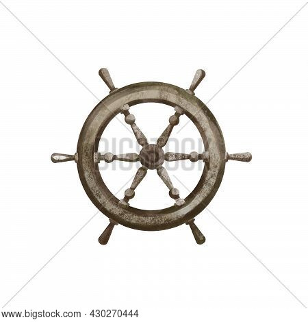 Watercolor Illustration Hand Drawn Steering Wheels For Old Pirate Ship, Vessel, Boat For Sea And Oce