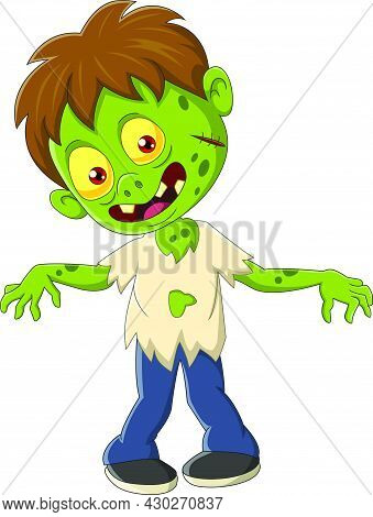 Vector Illustration Of Cartoon Angry Zombie Boy Standing