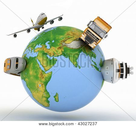 Types of transport on a globe. Elements of this image furnished by NASA.