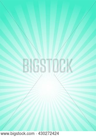 Sunlight Vertical Background. Bright Turquoise Color Burst Background. Vector Illustration. Sun Beam