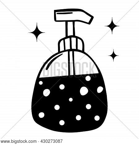 Dispensary For Liquid Soap Vector Icon. Isolated Illustration Of A Hygiene Product On A White Backgr
