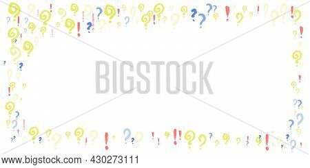 Frame Pattern Of Question, Xclamation Marks Scattered. Doodle Punctuation Marks In Grunge Texture St