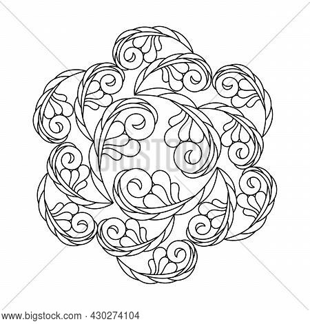 Coloring Book For Adults And Older Children . Abstract Curls, A Fantasy Composition, Floral Pattern.