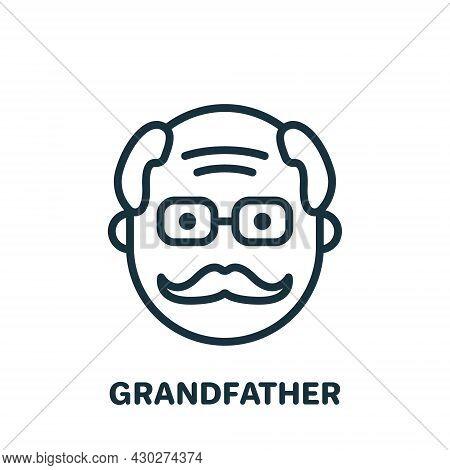 Happy Grandpa Face Line Icon. Old Senior Person Linear Pictogram. Old Grandfather Outline Icon. Reti