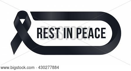 Rest In Peace Text In Black Ribbon Are Roll Frame Vector Design